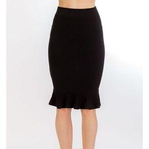 Dresses & Skirts - Black Ruffled Pencil Skirt Size Small